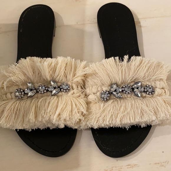 Zara Embellished Fringe Slides Sandals